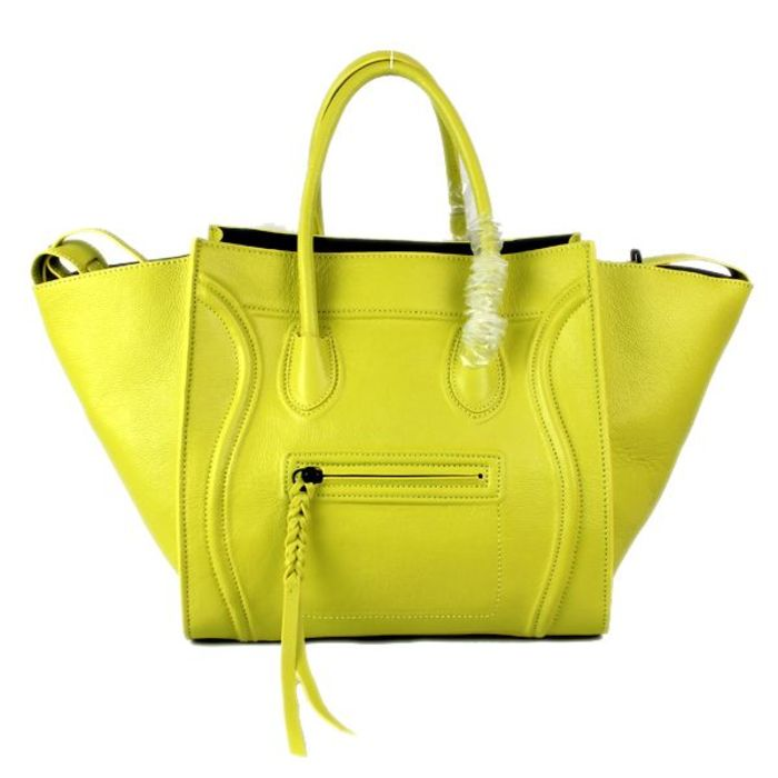 Celine Luggage Phantom Yellow Citron Calfskin Bag - celine bag ...